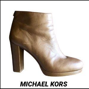 MICHAEL KORS COGNAC LEATHER BOOTIE